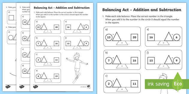 t n ks1 balancing act addition and subtraction activity sheet english ver 1