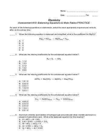 All Worksheets balancing act practice worksheet answers BALANCING CHEMICAL EQUATIONS Name
