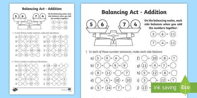KS1 Balancing Act Addition Activity Sheet balancing equations balancing sums balancing number sentences