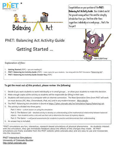PhET Balancing Act Activity Guide by jamesgonyo Teaching Resources Tes