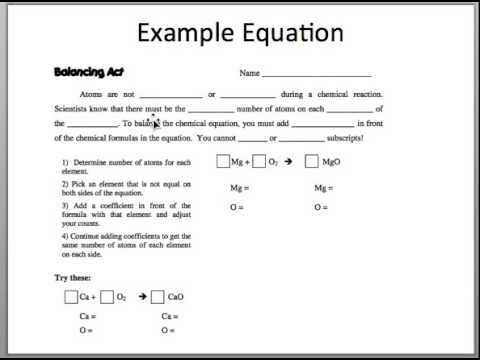 Balancing Act Worksheet