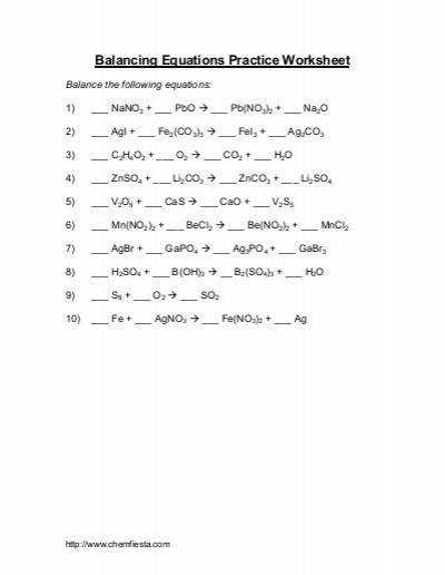 Balancing Equations Pre Assessment ANSWER KEY Teach