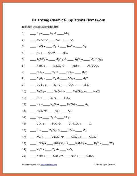 balancing chemical equations answers balancing chemical equations worksheet