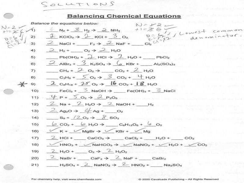 Balancing Chemical Reactions Worksheet 2 Worksheets