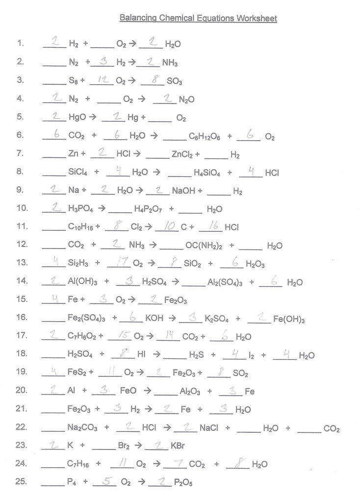 Worksheet 7 Balancing Chemical Equations Chapter 7 Worksheet
