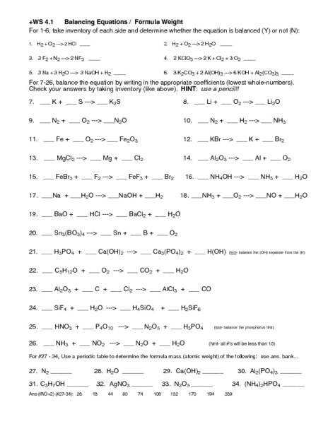 Chemical Reactions Worksheet Balancing Equations And Reaction Types Worksheet Answers With Types Chemical