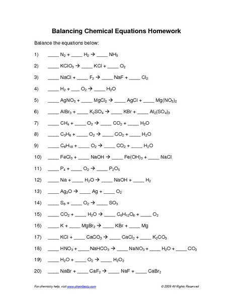 Chemical Equations And Reactions Worksheet