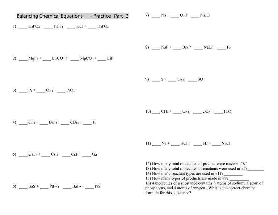 Printable balancing equations 38