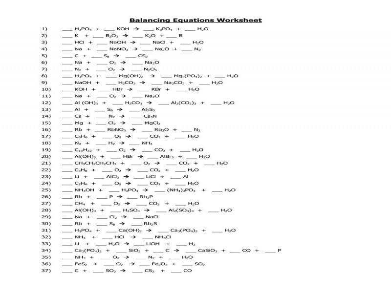 Balancing Chemical Equations Worksheet Key 1 25 – Jennarocca
