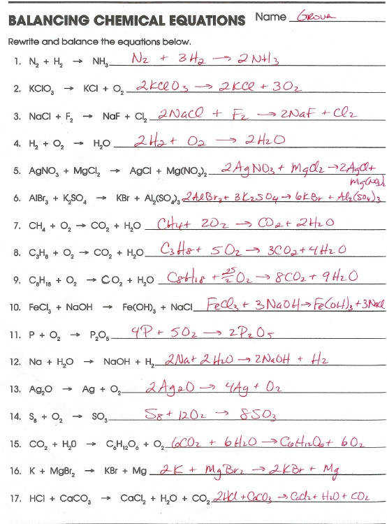 Balancing Equations And Types Rated More Chemical Bonding Worksheet Key Worksheets
