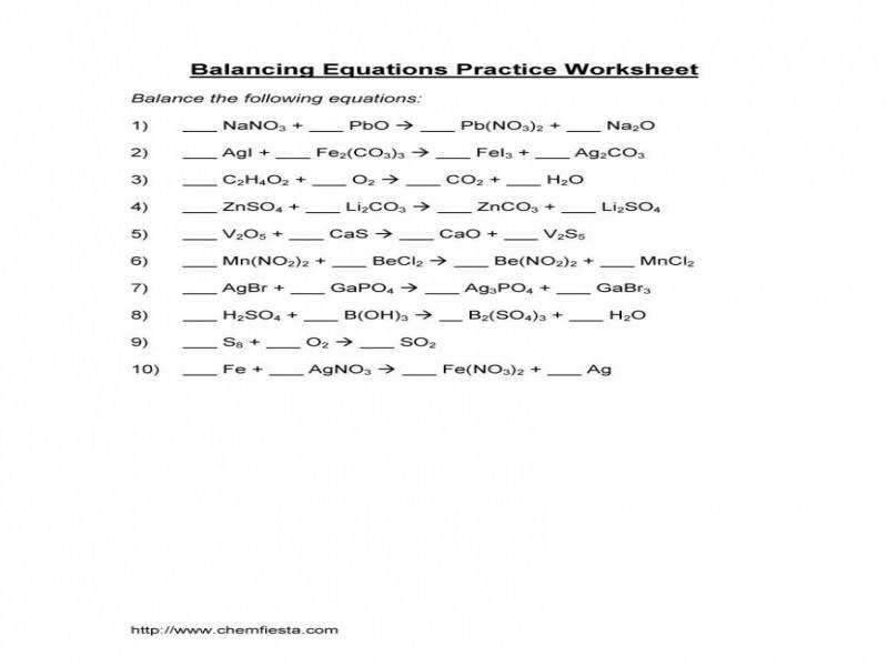 balancing chemical reactions worksheet. Black Bedroom Furniture Sets. Home Design Ideas