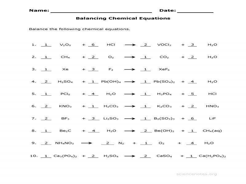 Balance Chemical Equations Worksheet 3 Answer Key – Science Notes