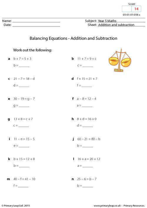 PrimaryLeap Balancing Equations Addition and subtraction Worksheet