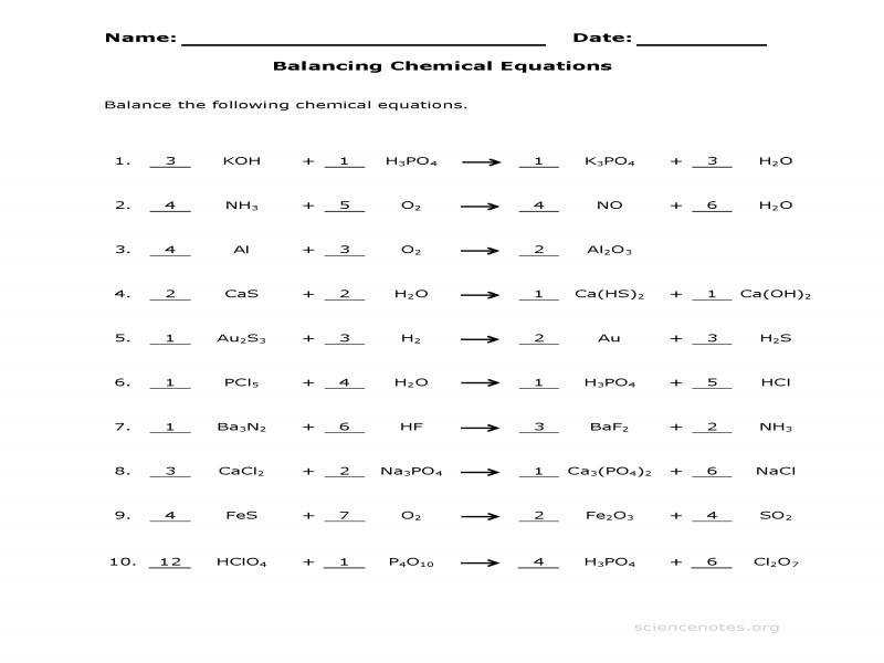 Balancing Chemical Equations Practice Sheet · Balancing Equations Worksheet Answers