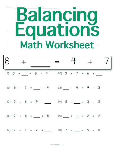 Practice balancing math equations by adding or subtracting numbers on both sides Customize the types and number of problems on each printable worksheet