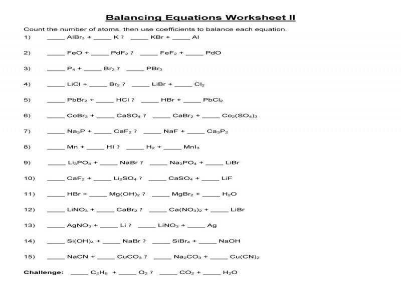 Balancing Equations Practice Worksheet Homeschooldressage