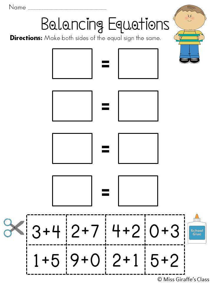 Balancing Equations Cut Paste worksheets such a fun way to introduce practice