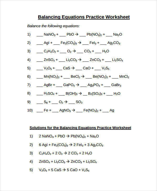balancing equations worksheet answer key. Black Bedroom Furniture Sets. Home Design Ideas