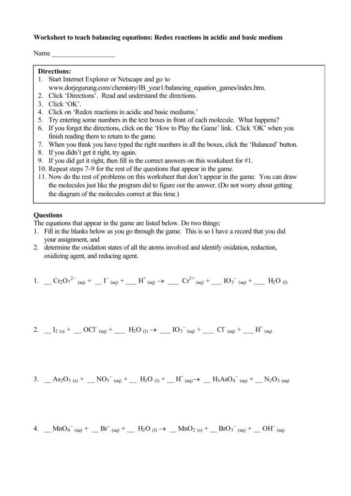 Worksheet To Teach Balancing Equations Redox Reactions In Acidic Bunch Ideas: Redox Worksheet At Alzheimers-prions.com