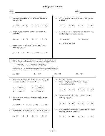 balancing redox reactions worksheet. Black Bedroom Furniture Sets. Home Design Ideas