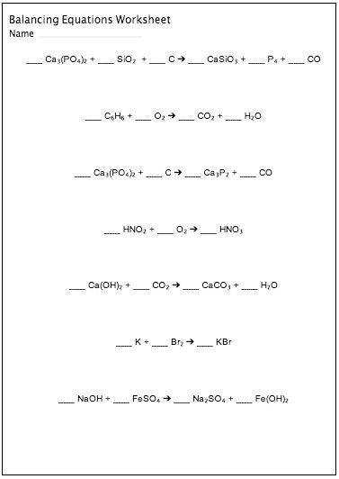 Balancing chemical equations worksheet maker customizable and printable Science STEM Resources Pinterest