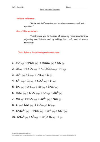 Balancing Redox Reactions Worksheet