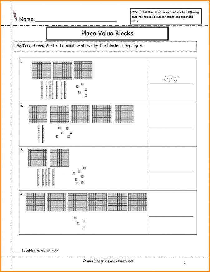 Free printable base ten blocks worksheets