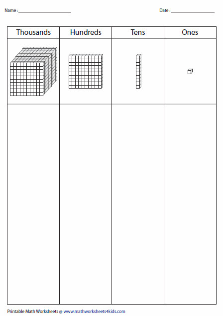 Base ten block worksheets contain posing and de posing place value of ones units tens rods hundreds flats and thousands blocks