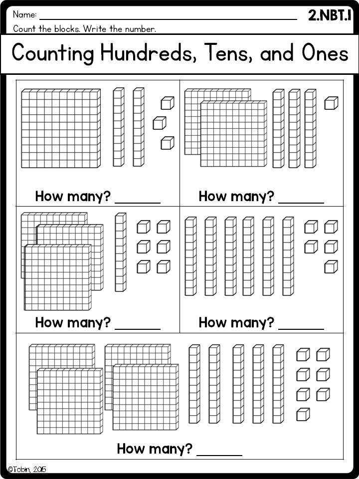 2nd Grade Math Printables Worksheets Numbers and Operations in Base Ten NBT