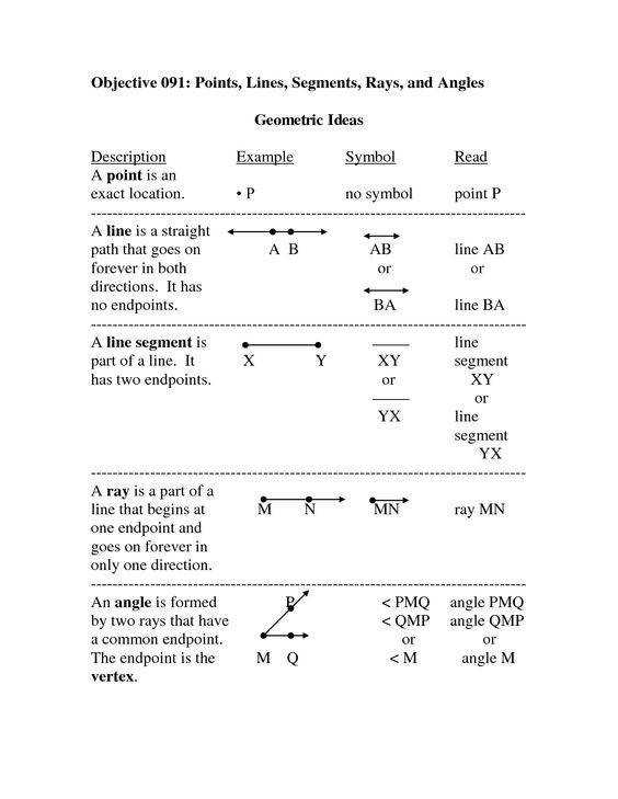 Geometry Basics Worksheet Templates and Worksheets