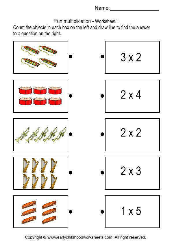 Printable multiplication worksheets for helping kids to learn basic concept of multiplication Match the multiplication pictures on the left with