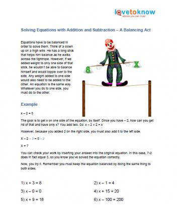 printable for solving equations with addition and subtraction