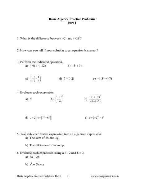 Basic Algebra Practice Problems Part 1 6th 8th Grade Worksheet