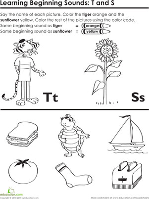 Preschool Reading & Writing Worksheets Beginning Sounds T and S
