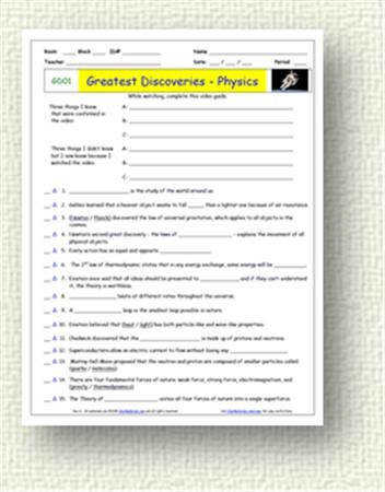 Free Student Video Worksheets for Bill Nye The Science Guy Liberty s Kids