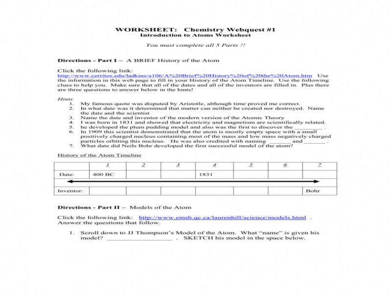 Chemistry Webquest 1 Introduction To Atoms Worksheet