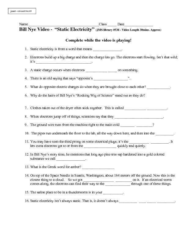 Bill Nye Video Worksheets plete 20 Video Worksheet Collection