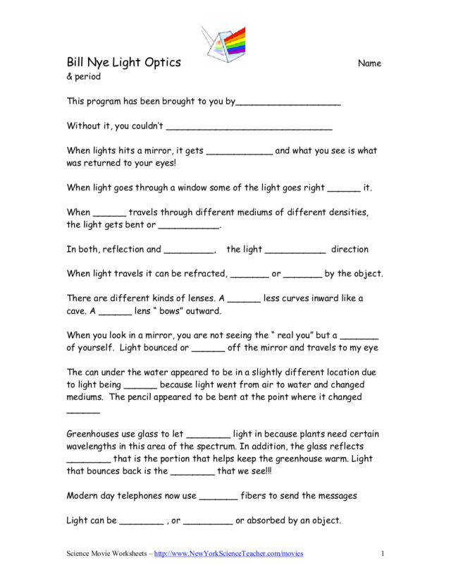 Bill Nye Electrical Circuits Worksheet Lesson Planet