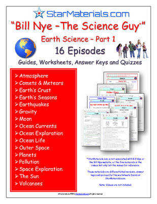 "16 Episodes of ""Bill Nye – The Science Guy"" Earth Science Series 1 – Differentiated Worksheet Answer Sheet Two Quizzes"