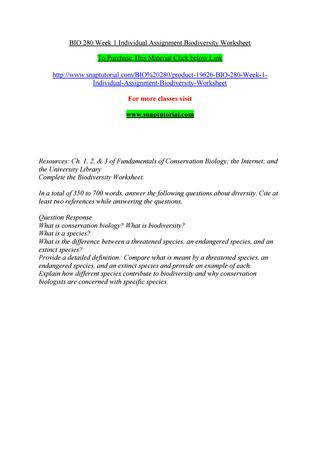 BIO 280 Week 1 Individual Assignment Biodiversity Worksheet To Purchase This Material below Link