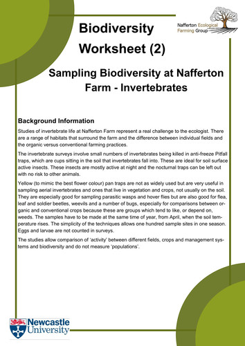 Biodiversity Worksheets and Introduction by KateEcologicalFarming Teaching Resources Tes