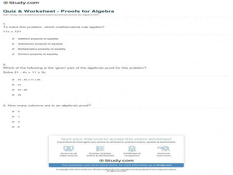 Quiz & Worksheet Proofs For Algebra