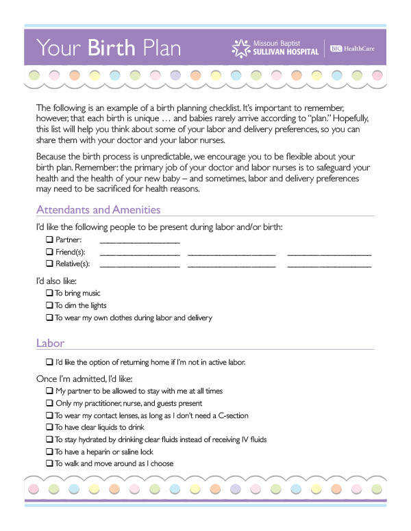 Download a copy of our Birth Plan