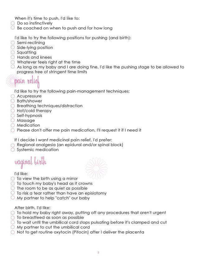 Free Birth Plan Printables Mommy Survival Baby