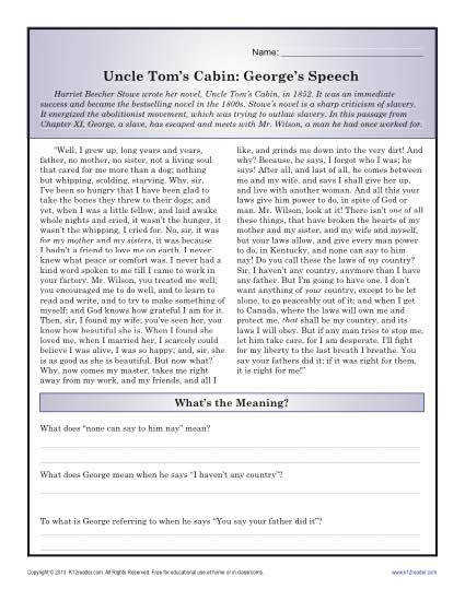 "This reading prehension worksheet on a passage from ""Uncle Tom s Cabin"" is a great"