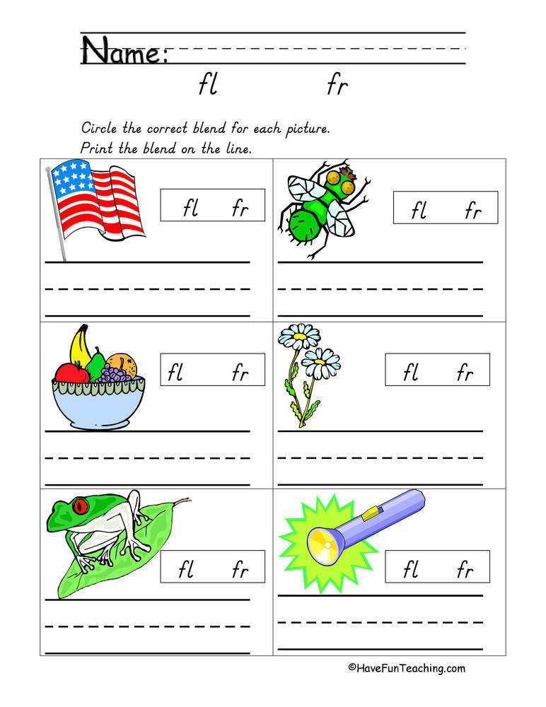 Blends Worksheet – FL FR