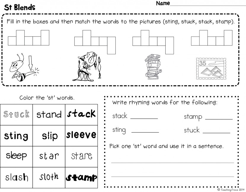Blends Worksheets For S L And R Phonics Phonic Kindergarten 3672beb8d8f490d417a12c7abfc