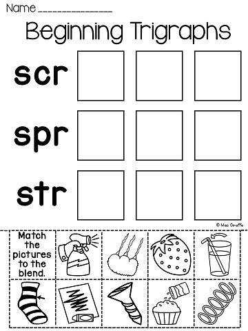 3 Letter Blends Trigraphs Worksheets & Activities NO PREP