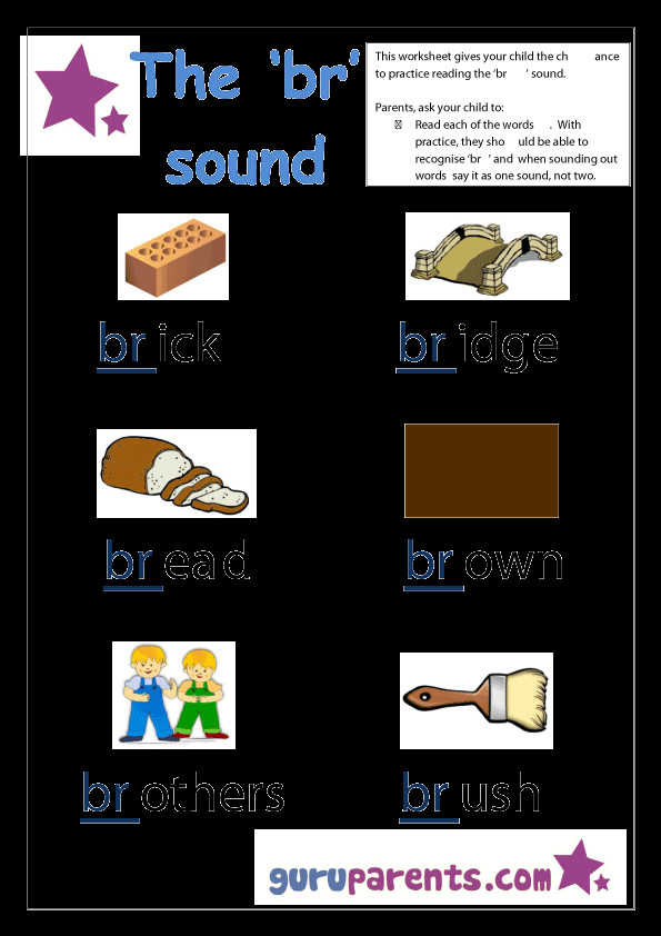 Word Beginning Sounds Worksheet Br sound
