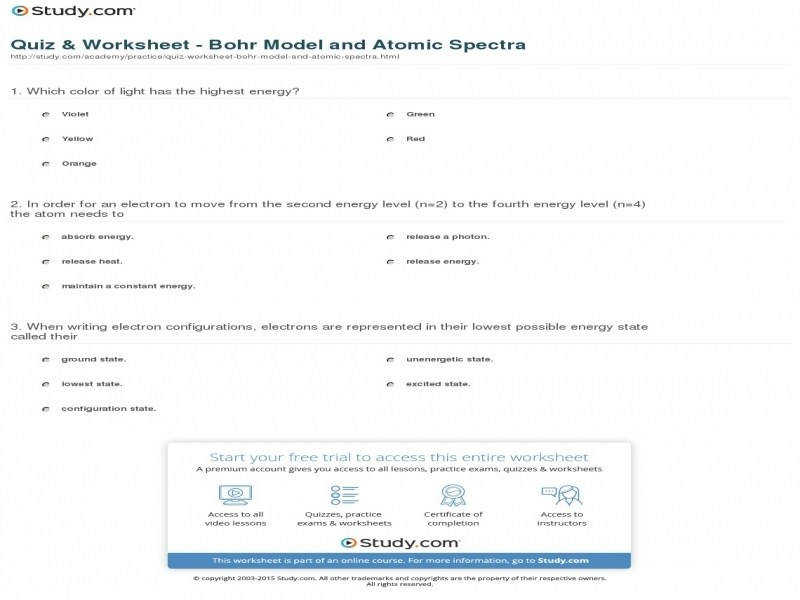 Quiz & Worksheet – Bohr Model And Atomic Spectra
